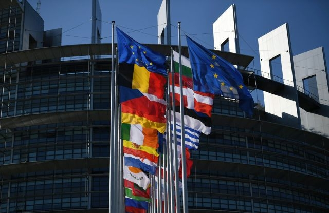 European countries' flags and the European Union flag fly in front of the 'Louise Weiss Building', the seat of the European Parliament, in Strasbourg, France, 02 July 2019. EPA/PATRICK SEEGER
