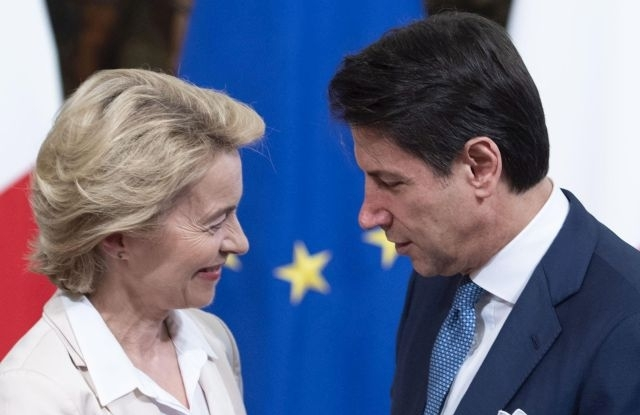 Italian premier Giuseppe Conte (R) receives President-elect of the European Commission Ursula von der Leyen for a working lunch at Chigi Palace in Rome, Italy, 02 August 2019.