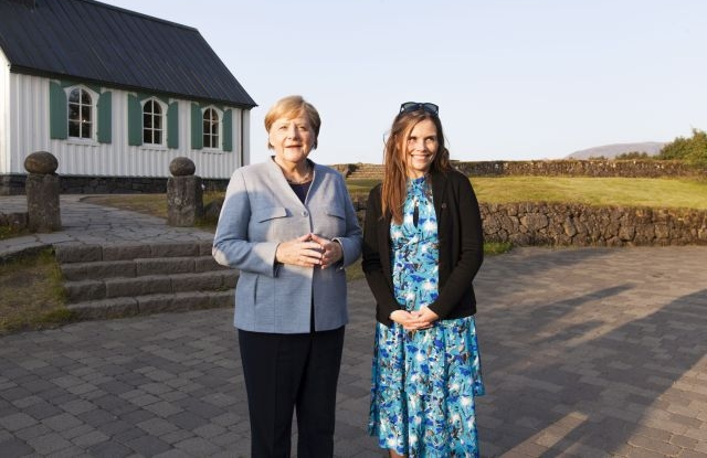 German Chancellor Angela Merkel (L) is welcomed by Icelandic Prime Minister Katrin Jakobsdottir (R) in Thingvellir national park prior their talks in Reykjavik, Iceland, 19 August 2019. Merkel will join the meeting of Nordic prime ministers as a guest of honor in the capital city which will cover Arctic affairs among other topics. EPA/STR