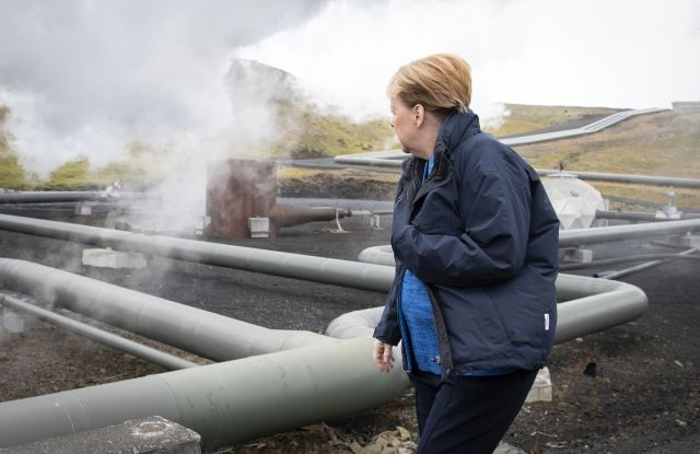 A handout photo made available by the German Government's press office (BPA) shows German Chancellor Angela Merkel as she visits the Geothermal Energy Exhibition at Hellisheidi Power Station, Iceland, 20 August 2019. German Chancellor Angela Merkel is visiting Iceland where she will join on 20 August the meeting of Nordic prime ministers as a guest of honor in the Icelandic capital Reykjavik. EPA/Guido Bergmann / HANDOUT HANDOUT EDITORIAL USE ONLY/NO SALES
