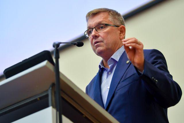 Matolcsy György 57. Közgazdász-vándorgyűlésen a Nyíregyházi Egyetemen 2019. szeptember 5-én. (Fotó: MTI/Czeglédi Zsolt)