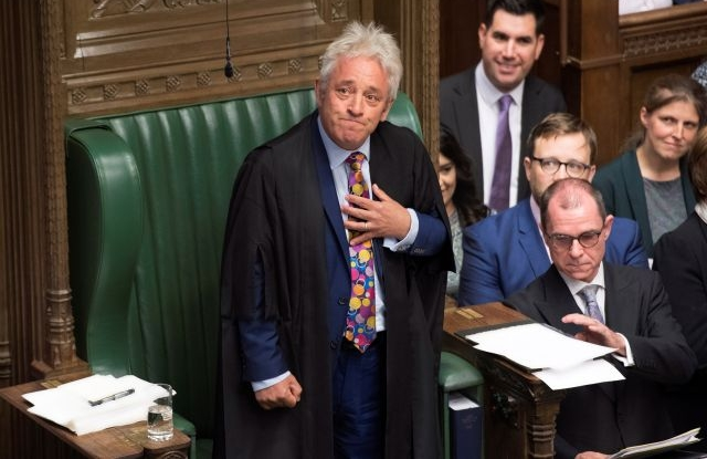 A handout photo made available by the UK Parliament shows Speaker of the House of Commons John Bercow (C) speaking in the House of Commons in London, Britain, 09 September 2019. Reports state that John Bercow says he will stand down as Commons Speaker and Member of Parliament at the next election or on 31 October 2019, whichever comes first. EPA/JESSICA TAYLOR/UK PARLIAMENT / HANDOUT MANDATORY CREDIT: UK PARLIAMENT