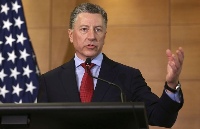 Kurt Volker, US Special Representative for Ukraine Negotiations, attend his press briefing in Kiev, 27 July 2019 (reissued 27 September 2019). US President Trump's lawyer Rudy Giuliani allegedly reached out to several aides to the Ukrainian President Zelensky, inlcuding Bakanov, as it is mentioned in a whistleblower's complaint over Trump's dealings with Ukraine. The whistleblower alleges that Trump had demanded Ukrainian investigations into US Presidential candidate Joe Biden and his son Hunter Biden's business involvement in Ukraine. EPA/INNA SOKOLOVSKAYA