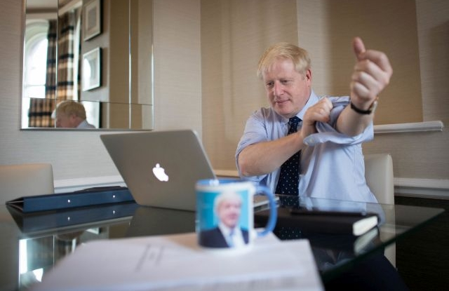 British Prime Minister Boris Johnson prepares his keynote speech which he'll deliver to the Conservative party conference in Manchester a day later, Manchester, Britain, 01 October 2019. EPA/Stefan Rousseau / Press Association / POOL