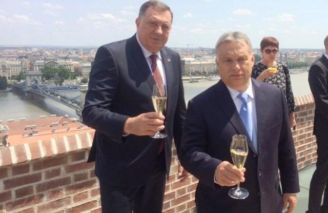 Orbán Viktor, Milorad Dodik 2019. június 18-án Budapesten. Forrás: RTRS/Facebook