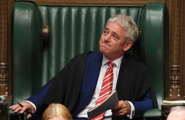 A handout photo made available by the UK Parliament shows the Speaker John Bercow during his last Prime Minister Questions (PMQS) in the House of Commons in London, Britain, 30 October 2019. EPA/JESSICA TAYLOR / UK PARLIAMENT HANDOUT HANDOUT MANDATORY CREDIT: UK PARLIAMENT / JESSICA TAYLOR HANDOUT EDITORIAL USE ONLY/NO SALES