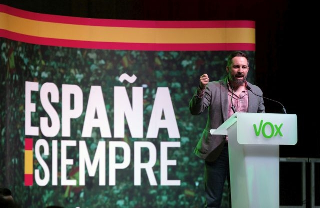 Spanish right party Vox' President Santiago Abascal attends the election campaign opening rally of Vox's party in L'Hospitalet, Catalonia, Spain, 31 October 2019. Spain will hold general elections on 10 November 2019, after Sanchez failed to form a government following 28 April election. EPA/ENRIC FONTCUBERTA