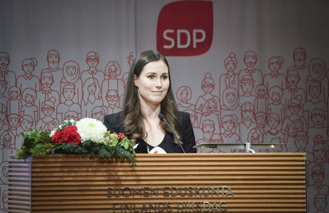 Social Democratic Party of Finland (SDP) deputy leader Sanna Marin attends a SDP party event in Helsinki, Finland, 08 December 2019 (issued 09 December 2019), where she was elected to the post of prime minister. Marin, who has been a member of the Finnish Parliament since 2015 and the country's Transport Minister since June 2019, is to become the world's youngest prime minister at the age of 34. EPA/KIMMO BRANDT