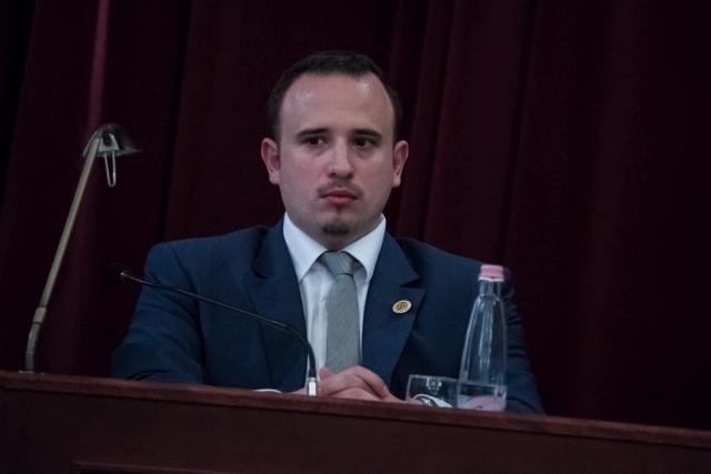 Dorosz Dávid, a klímavédelemért felelős főpolgármester-helyettes az új összetételű Fővárosi Közgyűlés alakuló ülésén a Városháza dísztermében 2019. november 5-én. MTI/Balogh Zoltán