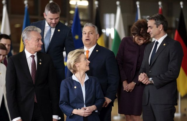 Lithuanian President Gitanas Nauseda, EU Commission President Ursula Von der Leyen, Hungary's Prime Minister Viktor Orban, Federal Chancellor of Austria Brigitte Bierlein and Greek Prime Minister Kyriakos Mitsotakis attend to a family picture during the European Council summit in Brussels, Belgium, 12 December 2019. An European Council meeting will be held in Brussels on 12 and 13 December during which the EU27 leaders among other topics will discuss the Brexit and preparations for the negotiations on future EU-UK relations after the withdrawal as well as a revision of the European Stability Mechanism (ESM) Treaty. EPA/OLIVIER HOSLET