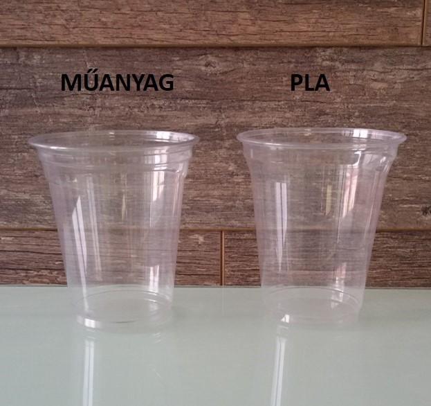 Hagyományos műanyag és a növényi keményítőből készülő (PLA) pohár