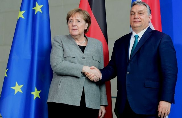 German Chancellor Angela Merkel and Hungarian Prime Minister Viktor Orban attend a joint press conference in Berlin, Germany, 10 February 2020. Orban and Merkel met for bilateral talks. EPA/CLEMENS BILAN