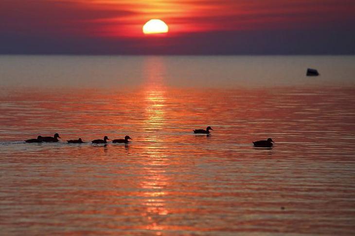 A nap képe: ilyen vörös eget már rég láttunk a Balatonnál