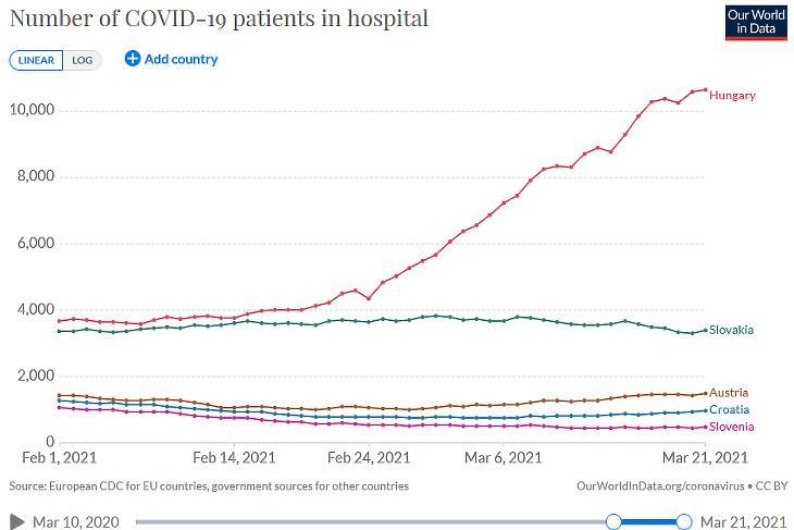 Kórházban ápolt koronavírusos betegek száma a térségünkben.  (Forrás: Our World in Data)