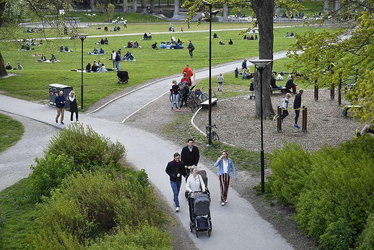 Piknikezők és járókelők a stockholmi Ralambshovsparken parkban 2020. május 8-án. EPA/Henrik Montgomery
