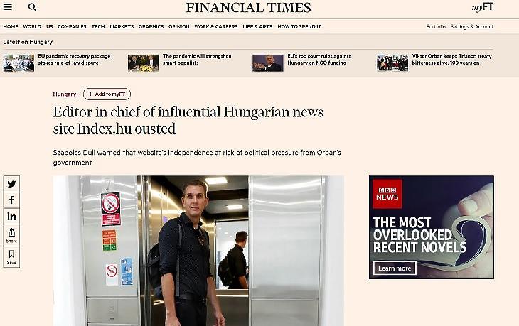 Dull Szabolcs, az index.hu menesztett főszerkesztője a Financial Timesban (Forrás: ft.com)