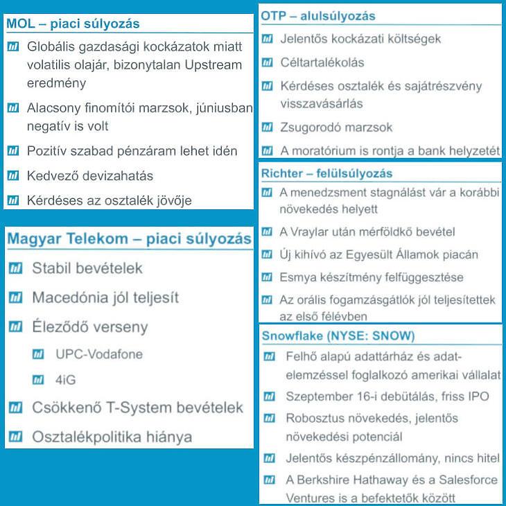 6. Ábra: Magyar részvények és a Snowflake (az Equilor Befektetési Zrt. értékelése)
