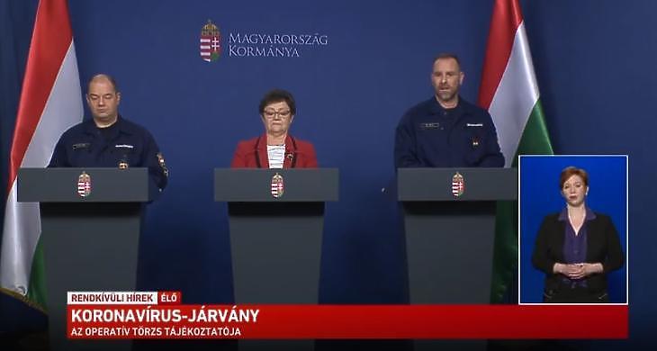 Az operatív törzs sajtótájékoztatója 2020. április negyedikén. (Forrás: a magyar kormány Facebook-oldala)