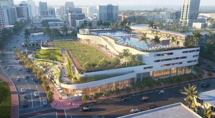 Az uszodákkal és atlétikai pályával megspékelt parkolóház terve (fotó: bisnow.com/City of Miami)