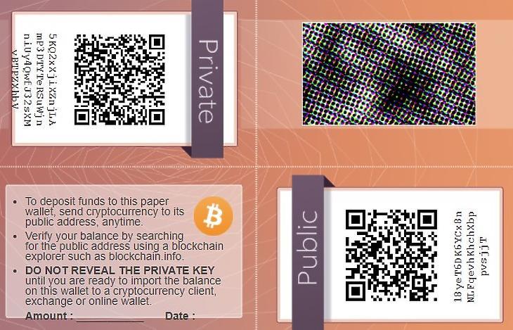"""""""Bitcoin paper wallet"""" – papíralapú pénztárca (walletgenerator.net)"""