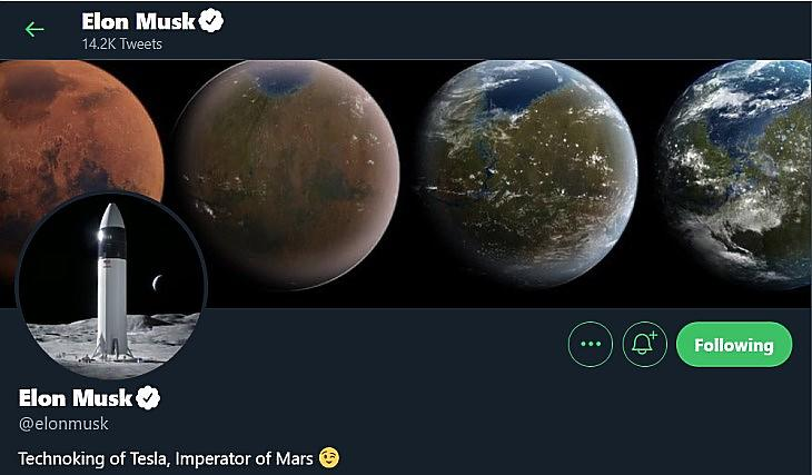 Elon Musk, a Mars császára (Twitter.com)