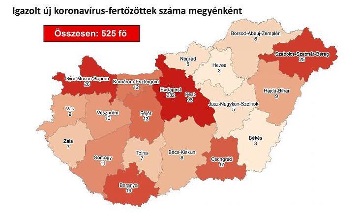 Terkepen A Koronavirus Fertozottek Budapesten Van A Legtobb Beteg