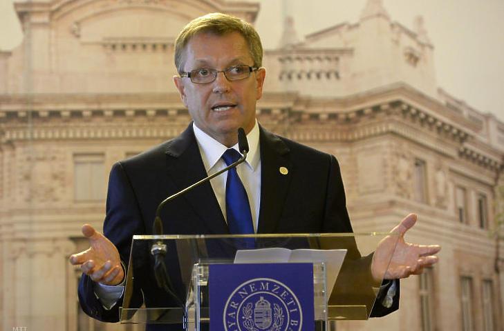 Matolcsy György, a Magyar Nemzeti Bank (MNB) elnöke bejelenti az első NHP programot (Fotó: Soós Lajos / MTI)