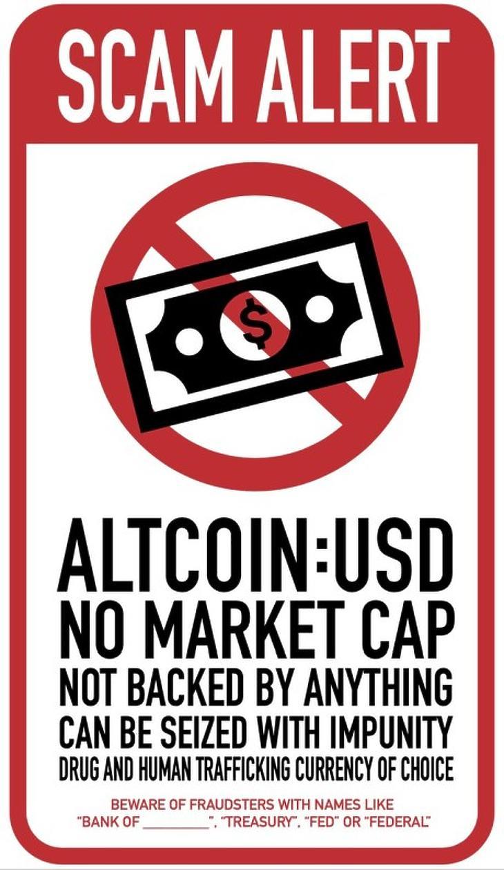 """Az USA-dollár mint alternatív kriptodeviza. Nincs piaci kapitalizációja, semmi sem garantálja az értékét, bármikor büntetlenül el lehet kobozni, az ember- és kábítószer-kereskedők pedig leggyakrabban ezt választják. (Forrás: Reddit, """"DankLard"""")"""