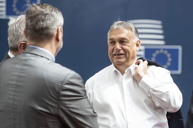 Orbán Viktor az EU-csúcson Brüsszelben 2020. július 19-én. (Fotó: Európai Tanács)