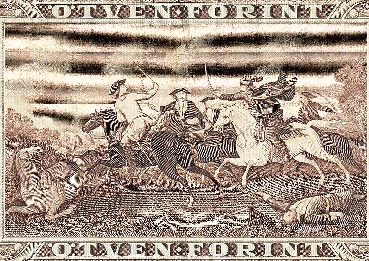 Huszáros, kurucos, labancos régi forintbankjegy (E. J.)