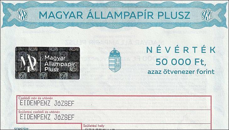 Fotó: A Magyar Állampapír Plusz államkötvény nyomdai úton előállított, postákon kapható verziója (2019)