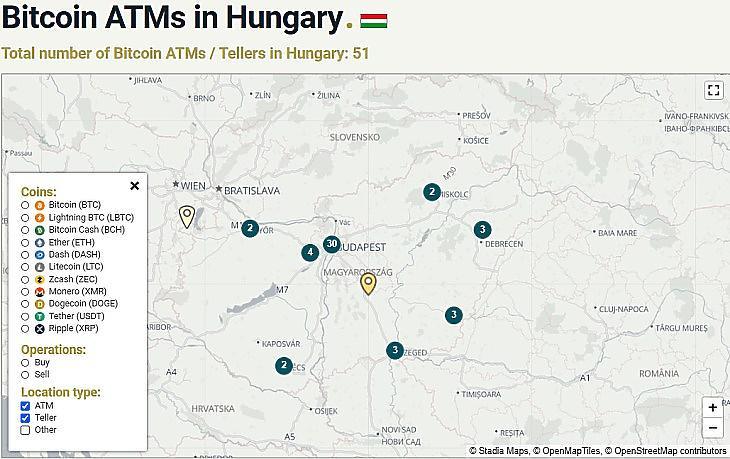 Bitcoin ATM-ek Magyarországon (forrás: Coinatmradar.com)