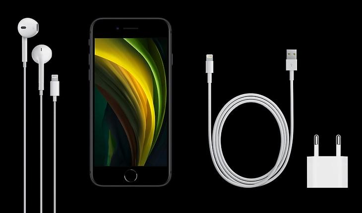 Az új iPhone SE - a dobozban vezetékes füles, telefon és vezetékes töltő. Forrás: apple.com