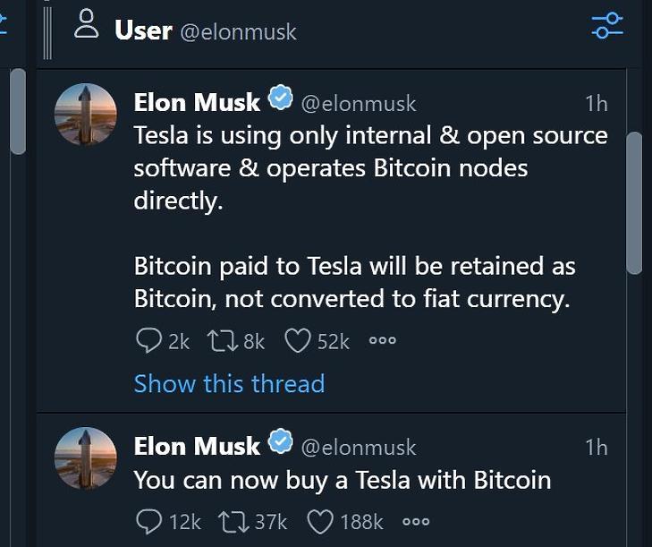 Elon Musk Twitter-üzenetei a bitcoin-elfogadásról. (Tweetdeck)