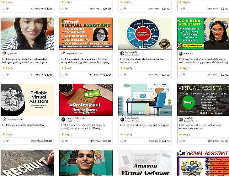 Nem passzív, de jövedelem, másodállás. Virtuális asszisztens kerestetik. A Fiverr.com egy részlete.