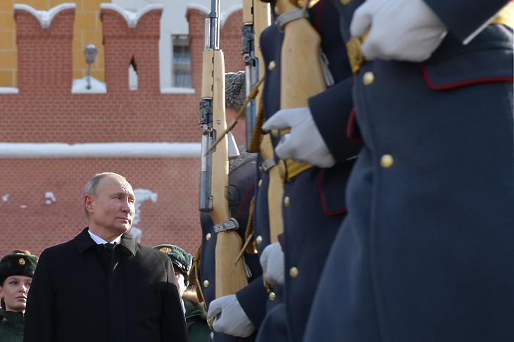 Vlagyimir Putyin egy megemlékezésen a Kreml közelében Moszkvában 2021. február 23-án. EPA/ALEXEI DRUZHININ
