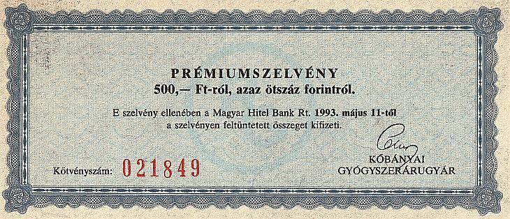 A Richter régi kötvényének kamatszelvénye (fotó: E. J.)