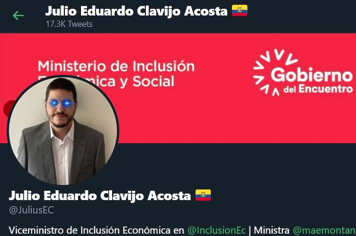 Ecuador miniszter-helyettesének Twitter-oldala, a kriptodeviza-befektetők egyik szimbólumával, a lézer-szemekkel.