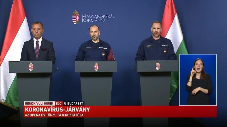 Szlávik János, Kiss Róbert és Gál Kristóf az operatív törzs május 3-i sajtótájékoztatóján. Forrás: Youtube