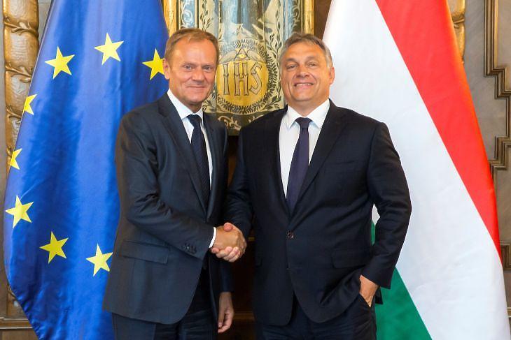 Beszédes gesztusok: Donald Tusk, az Európai Tanács akkori elnöke és Orbán Viktor miniszterelnök találkozója Budapesten 2016. szeptember 13-án. (Forrás: Európai Tanács)