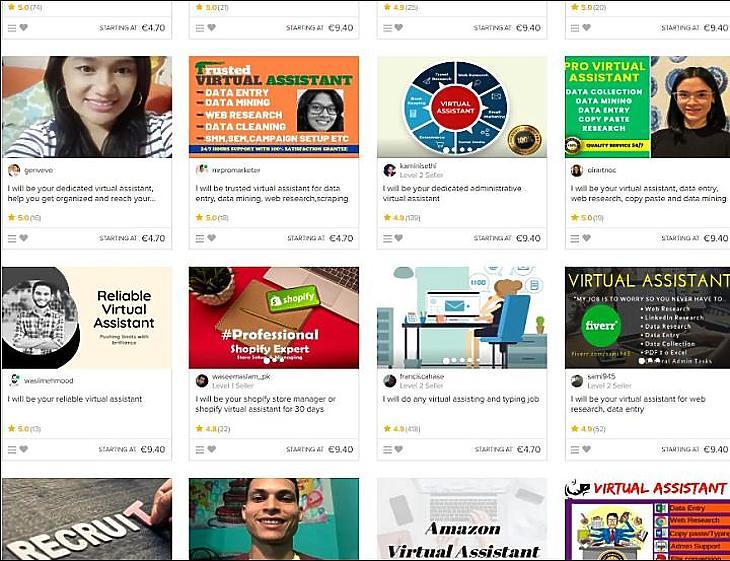 Virtuális asszisztens kerestetik. A Fiverr.com egy részlete