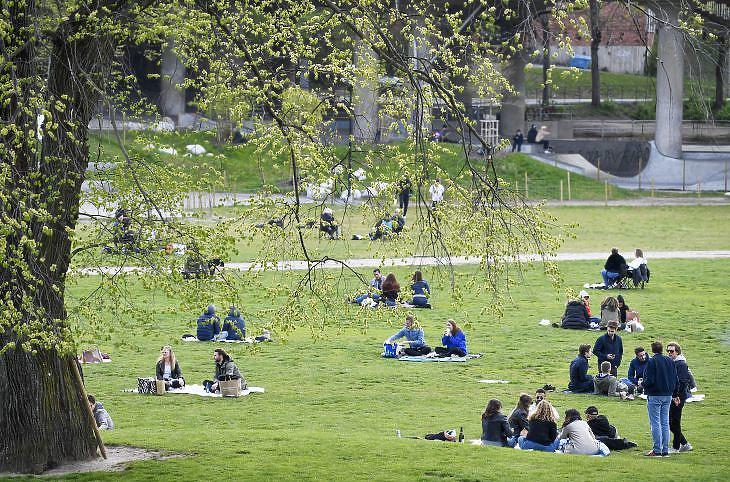 Piknikezők a stockholmi Ralambshovsparken parkban 2020. május 8-án. EPA/Henrik Montgomery