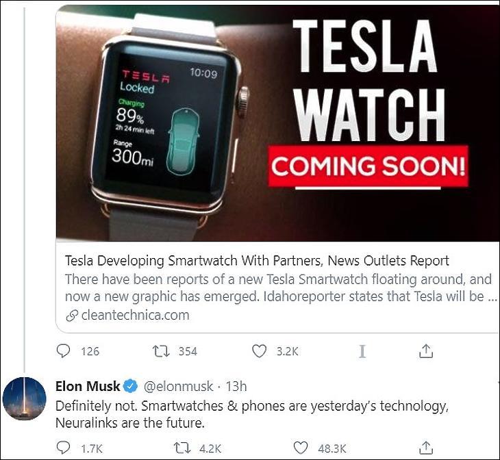 Tesla Smartwatch? Nem. Elon Musk twitter-üzenete (forrás: Twitter)