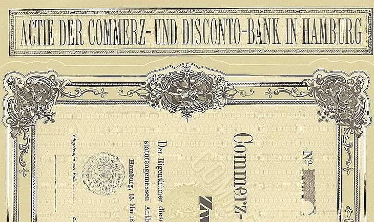 Régi Commerzbank-részvény részlete (fotó: EJ)