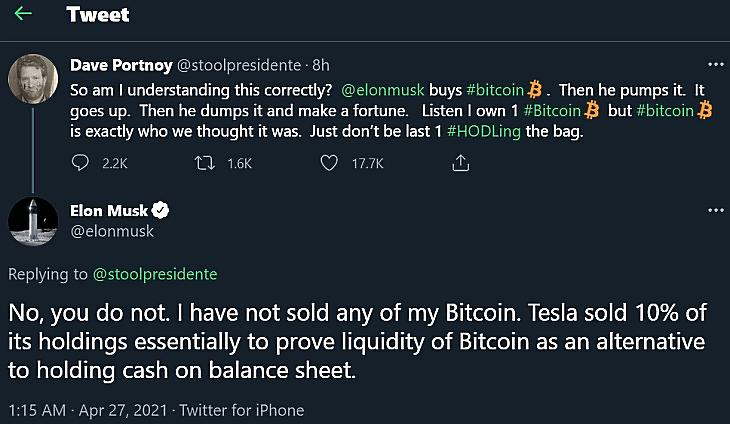 Pengeváltás a bitcoinról Dave Portnoy és Elon Musk között a Twitterren