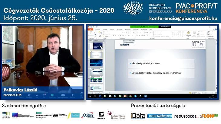 Palkovics László innovációs és technológiai miniszter online előadása a Cégvezetők Csúcstalálkozója – 2020 rendezvényen.