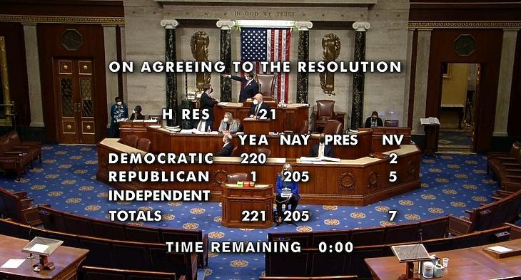 Képernyőfotó a képviselőház szavazásának közvetítéséről - forrás: EPA / US House of Representatives