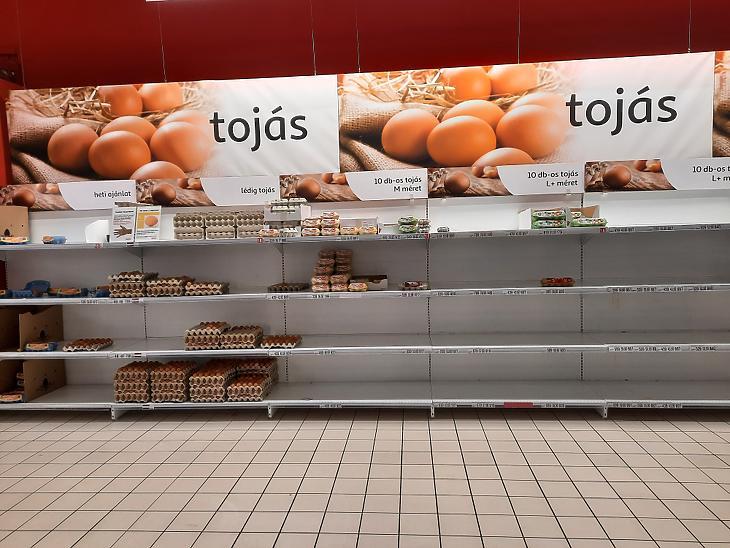 A tojáspult húsvét után az egyik Auchanban