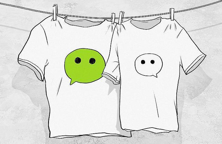A WeChat logója pólókon (Pixabay)