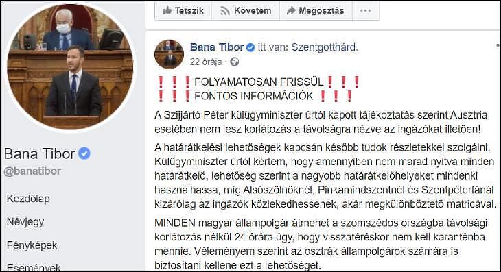 (Forrás: Bana Tibor, Facebook)